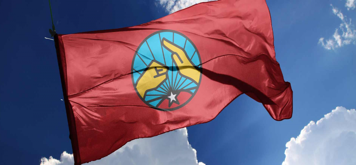 The flag of the Communard Union in Venezuela represents a fist striking a hand, a symbol that Hugo Chávez invented for revolutionary struggle. (@utopix_cc)