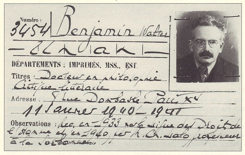 Walter Benjamin's membership card for the Bibliothèque nationale de France. (Bibliothèque nationale de France/CC)