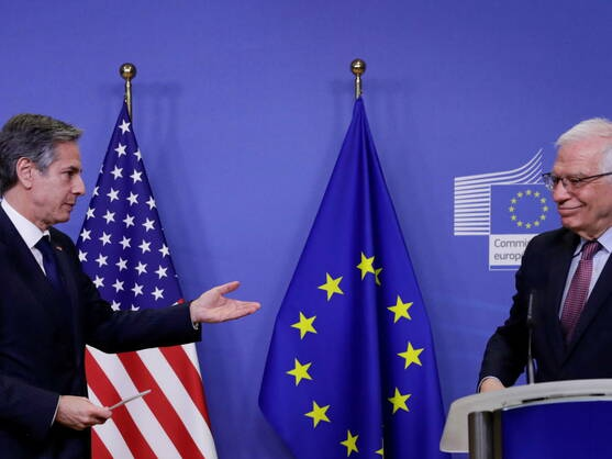 US Secretary of State Antony Blinken and EU High Representative for Foreign Affairs Josep Borrell share a platform in Brussels in March. (Reuters)