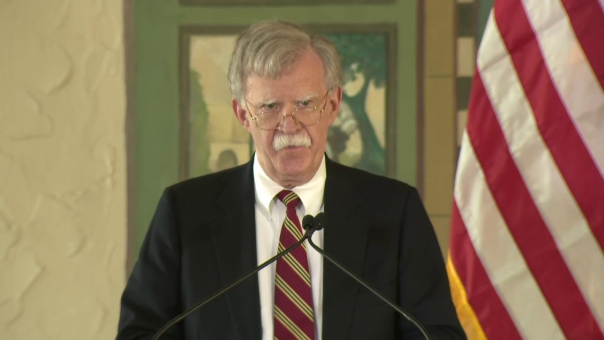 Trump's National Security Advisor John Bolton unveiled the latest sanctions in Florida. (Youtube still)