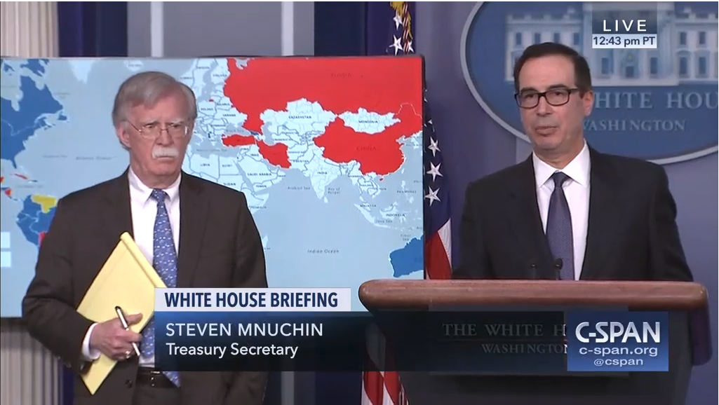 John Bolton (left) and Steve Mnuchin (right) announced new sanctions against PDVSA on Monday. (C-Span screenshot)