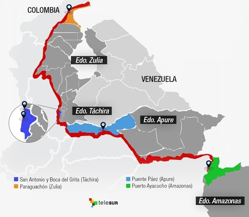 The border crossings between Venezuela and Colombia. (Telesur, modified by Paul Dobson / Venezuelanalysis)