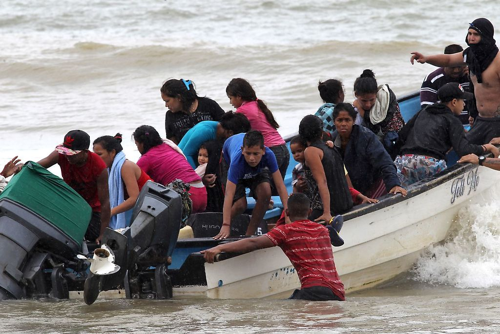 Venezuelan migrants in a boat in November. (Reuters)