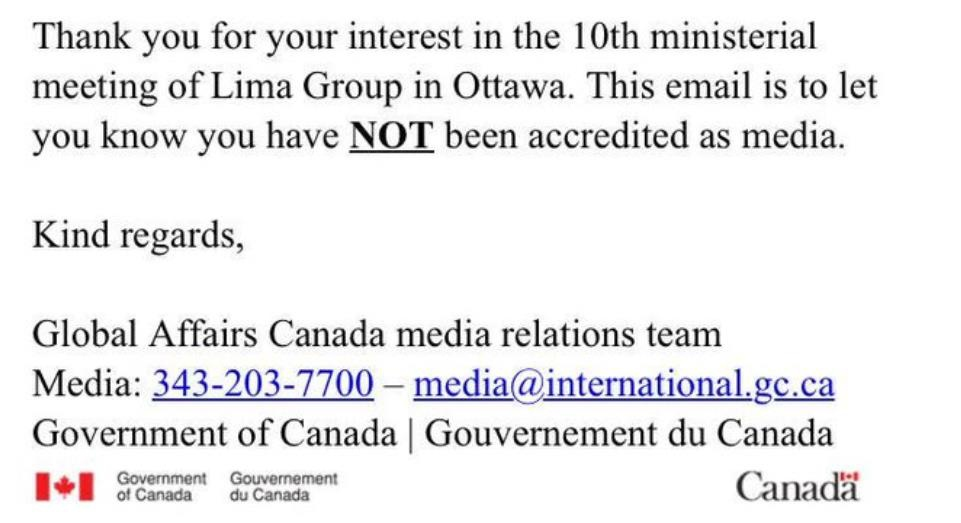 TeleSur was denied entry into a recent Lima Group meeting in Canada (@pvillegas_tlSUR) / Twitter)