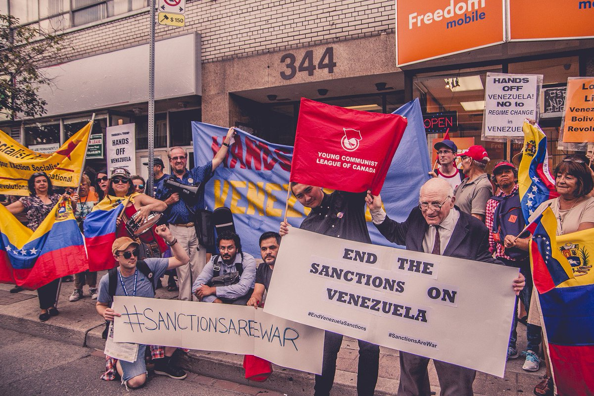 Protest against sanctions in Canada, August 9, 2018 (@compartycanada)