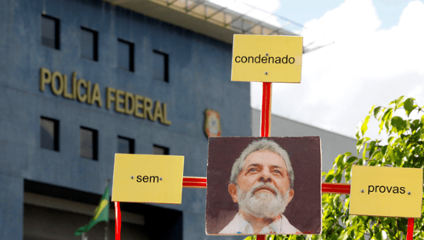 A picture of Brazil's former President Luiz Inacio Lula da Silva outside the Federal Police headquarters in Curitiba where Lula is a political prisoner Feb. 7, 2019. (Reuters)