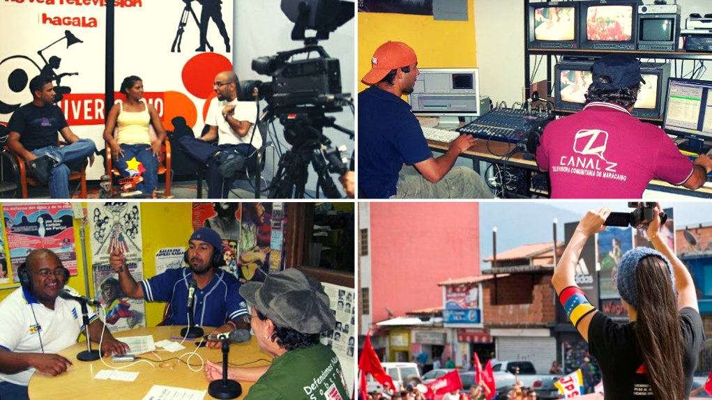 Community media: Catia TVe studios, 2008 (top left), Canal Z master, 2007 (top right), Radio Perola studios, 2009 (bottom left), Tatuy TV covering a march, 2017 (bottom right). (Archive)