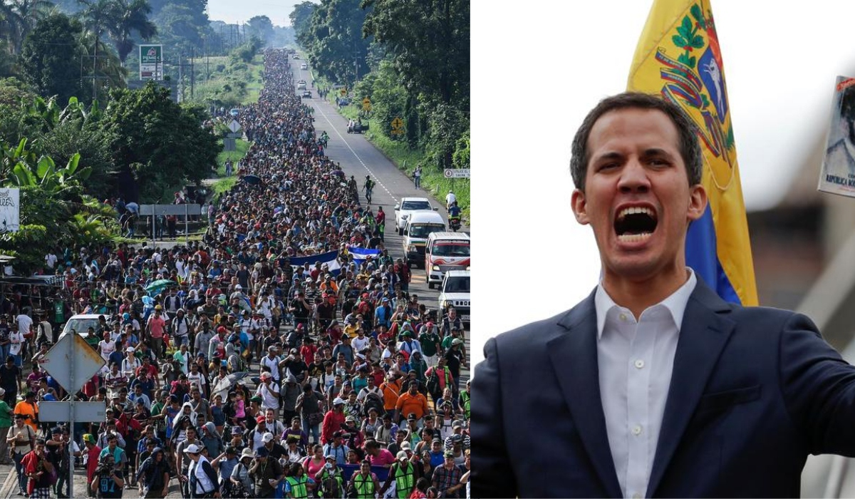 "The Trump administration has diverted Central America funds to Juan Guaido's regime change operation. (Left: Migrant Caravan (AFP), Right: Self-proclaimed ""Interim President"" Juan Guaido (Reuters))"