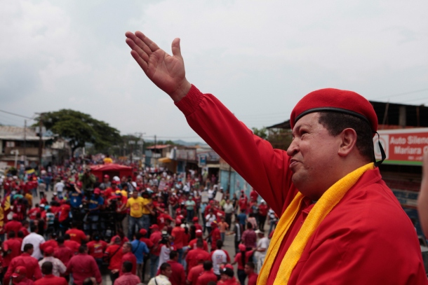 Hugo Chavez leading a rally (Archive)