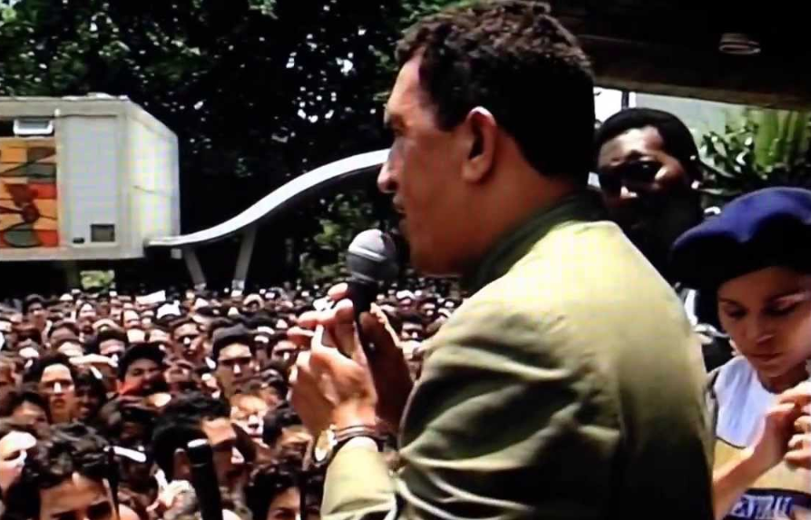 Hugo Chavez in a public campaign meeting in the mid '90s. (Reference)