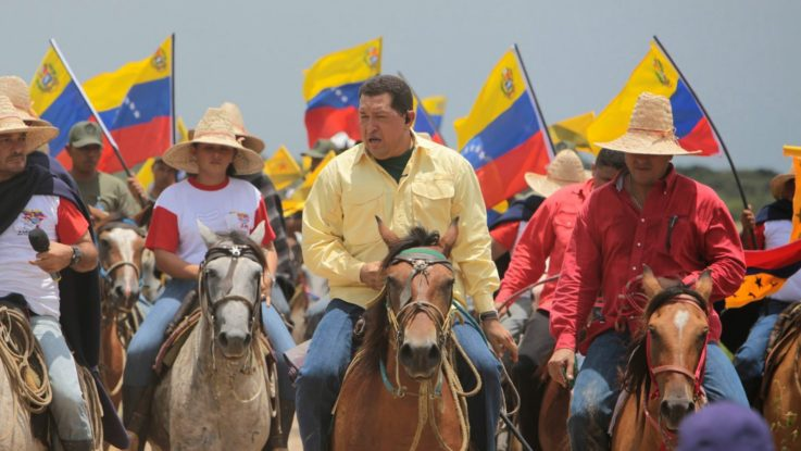 Chavez, who opened the way for an agrarian revolution, is depicted here in a 2006 visit to the Venezuelan plains. (CRBZ)