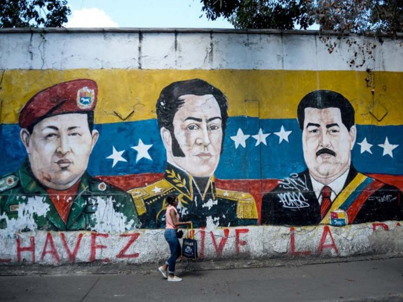 A mural of Chavez and Maduro in Venezuela (Alborada)