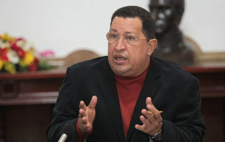 "Hugo Chavez giving the speech known as ""Strike at the Helm."" October 20, 2012. (MinCI)"