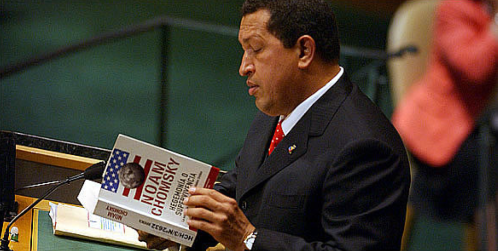 Chavez reading Noam Chomsky at the UN. 2006. (Archives)
