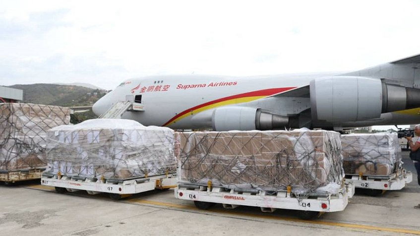 The Boeing 747 arrived with 71 tonnes of medical supplies. (AFP)