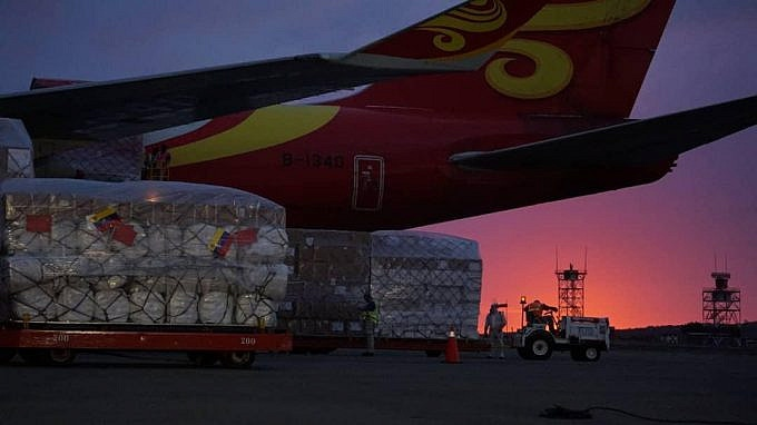 The 80-tonne shipment of COVID-19 medical supplies arrived via a humanitarian air bridge between the two nations. (AVN)