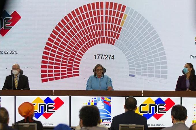 National Electoral Council President Indira Alfonzo announces the initial results late Sunday night. (CNE)