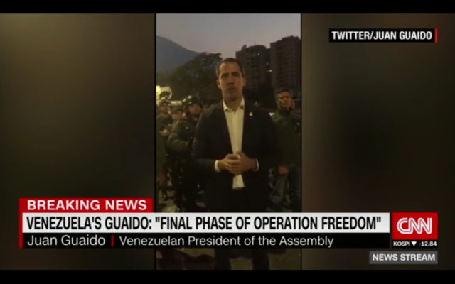 CNN echoed Juan Guaido's message on the morning of the attempted coup.
