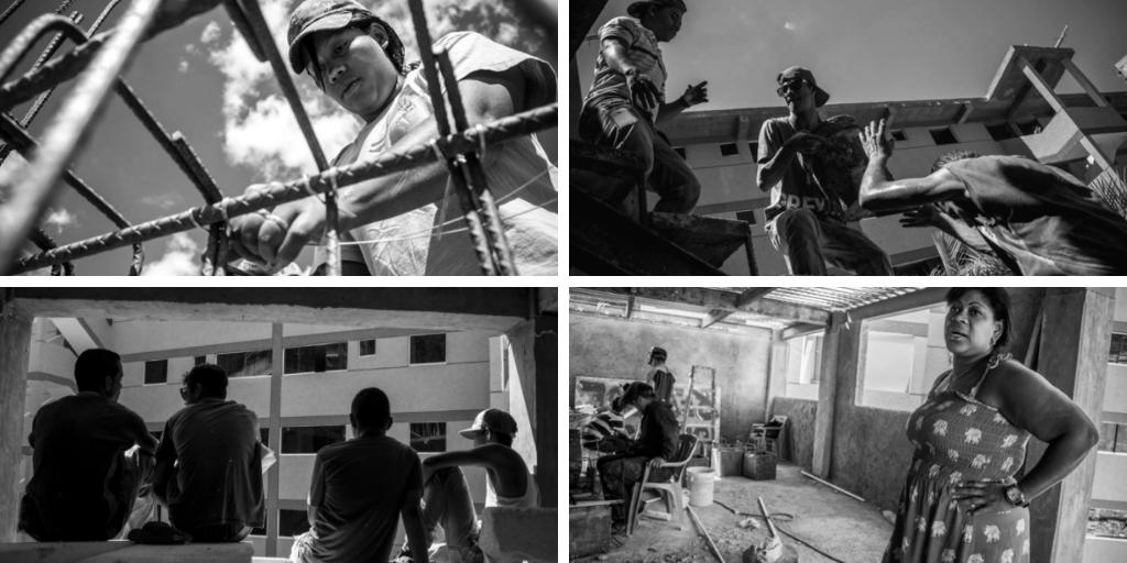 "The self‐organized building process in the Campamento de Pioneros Amatina in Caracas (Darwin ""Diko"" Cañas Betancourt)."