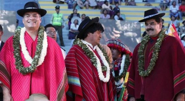 Presidents Nicolas Maduro, Rafael Correa and Evo Morales during a 2015 summit in Bolivia. (TeleSUR)