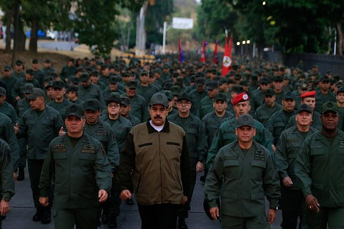 Maduro leads a military march in Tiuna City, Caracas. (Presidential Press)