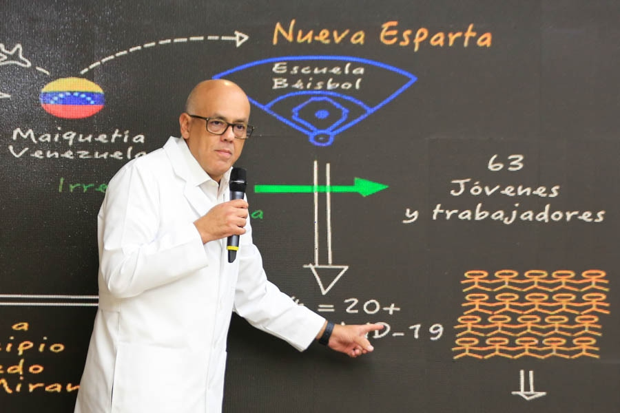 Communications Minister Jorge Rodriguez explains that the hotspot, which has caused 62 cases so far, was probably imported by academy directors arriving from the Dominican Republic. (AVN)