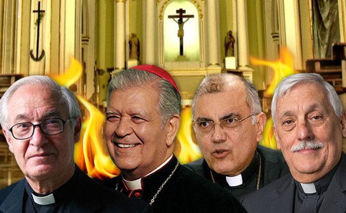 From left to right, Cardinal Baltazar Porras, Cardinal Jorge Urosa Savino, leading Jesuit priest Luis Ugalde and Provincial Leader of the Society of Jesus Arturo Sosa. (Supuesto Negado)