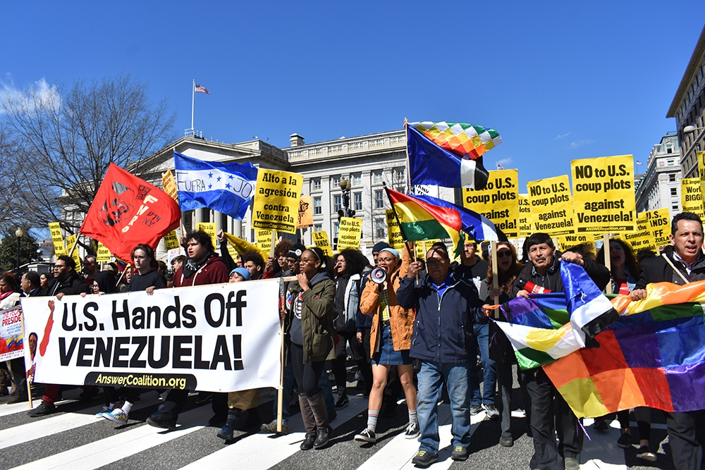 """Hands Off Venezuela"" march held in Washington DC on March 16. (Sofia D. / Liberation)"
