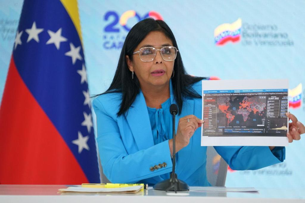 Vice President Delcy Rodríguez participated in the 27th Ibero-American Summit, where she called for unity among its members to face the pandemic. (Twitter/@ViceVenezuela)