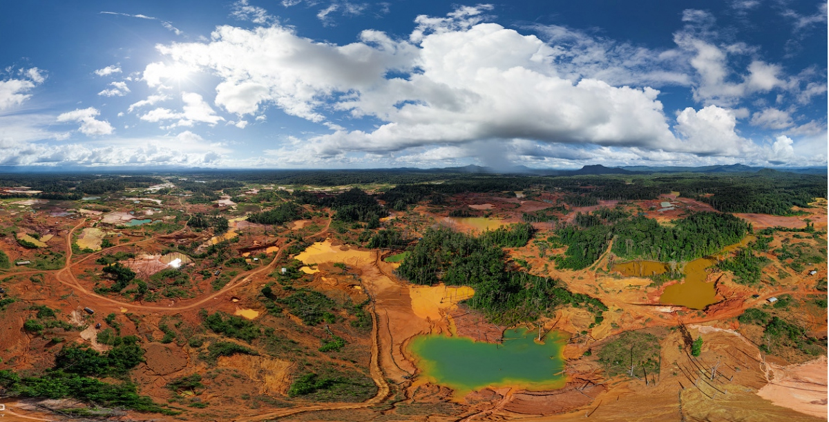 Deforestation and the creation of pools with the high-pressure water pumps used to dislodge gold are inevitable results of mining in the Orinoco Arc