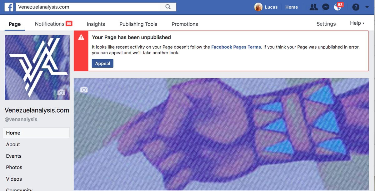 The Facebook page of Venezuelanalysis has been shut down (@venanalysis / Twitter)