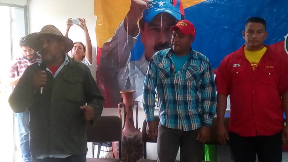 One of the campesino march leaders, Jesus Osorio, speaks at the National Assembly of Commune Activists