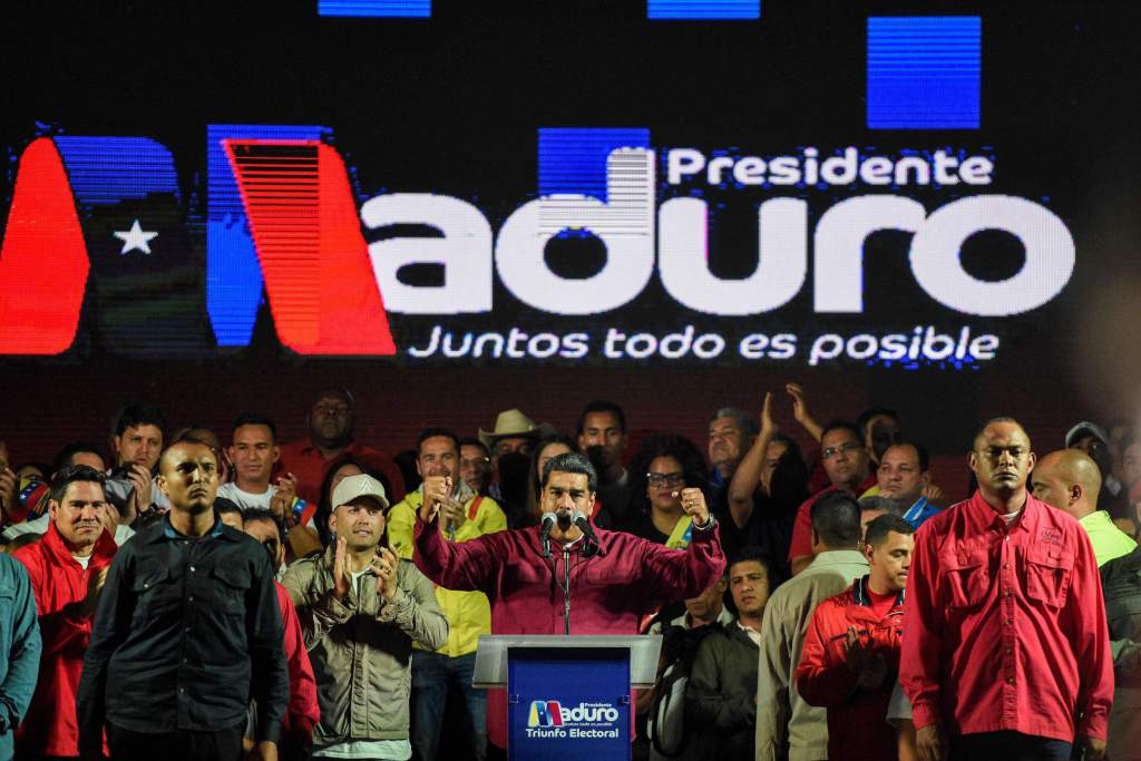 President Maduro addresses crowds after being announced the victor fo the May 20 presidential elections (Federico Parra / AFP)