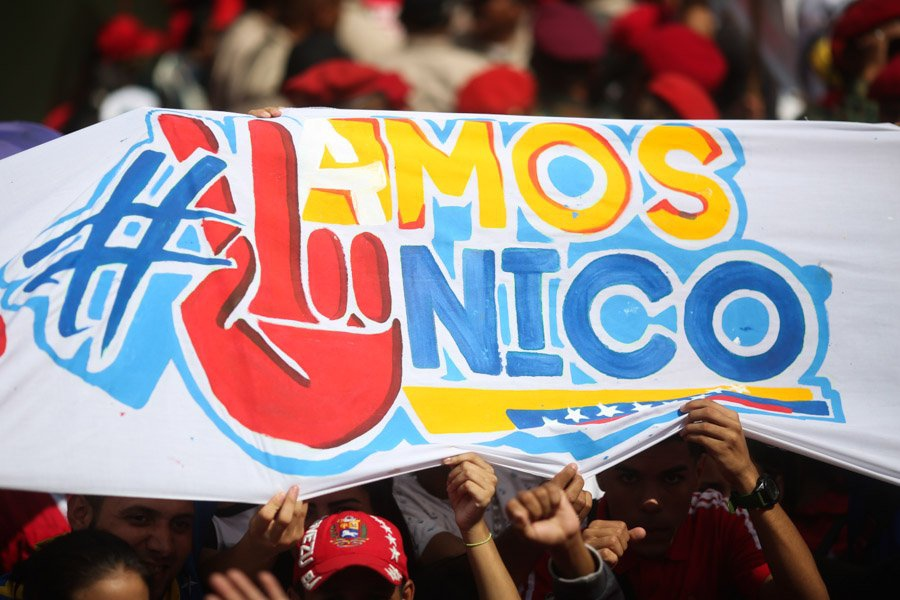 "Banner reads, ""Let's go Nico,"" referring to the Venezuelan president's reelection bid"