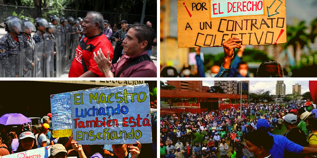 "Upper left: Eduardo Sánchez tries to talk to a police barricade so that a university workers' march can proceed, 2018 (EFE/Cristian Hernández). Upper right: a PDVSA worker holds a sign that reads ""For the right to a collective contract,"" 2020 (Archive). Lower left: in a teacher's protest, a teacher holds a sign reading ""A teacher that is struggling is also teaching,"" January 2021 (Tal Cual). Lower right: Sidor workers protests in 2020 and 2021 (La Izquierda Diario)"