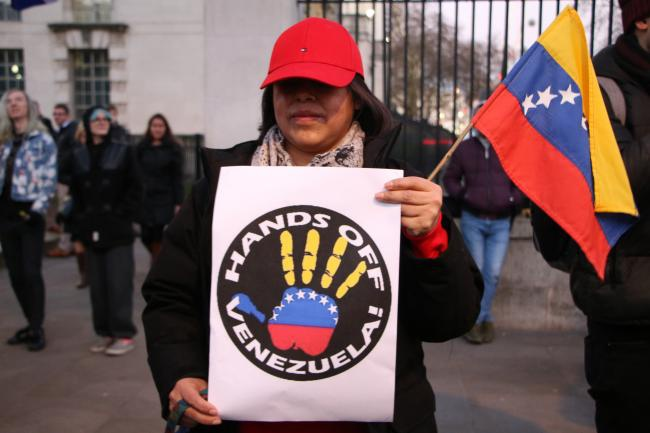 A Hands Off Venezuela protest in London on January 28, 2018. (Socialist Appeal/Flickr).