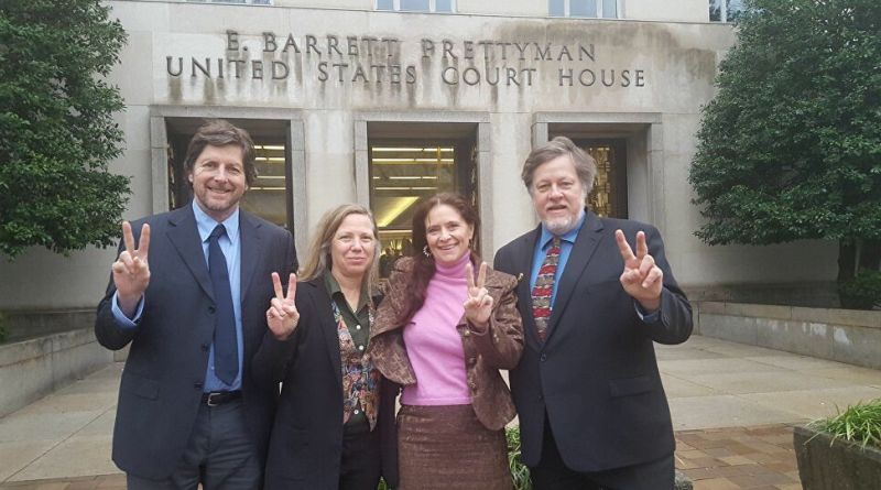 Left to right: David Paul, Adrienne Pine, Margaret Flowers and Kevin Zeese outside the courthouse prior to the February trial. (Critical Resistance)