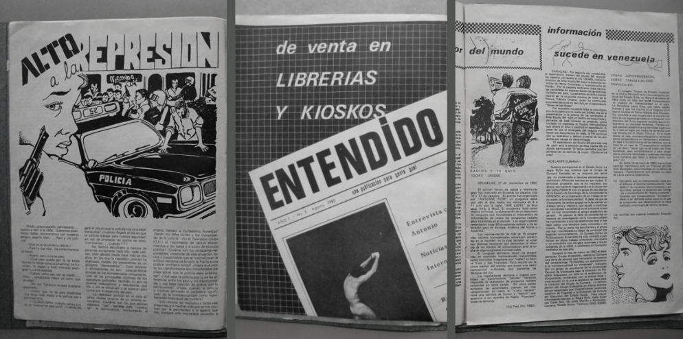 """Three spreads from the """"Entendido"""" magazine. The left spread denounces police repression against the gay community in Venezuela. (Archives)"""