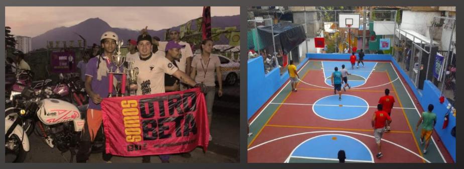 """Left: """"Entre Barrios"""" motopirueta championship. Right: """"Entre Barrios"""" basketball event at José Felix Rivas barrio, Petare. (Otro Beta)"""