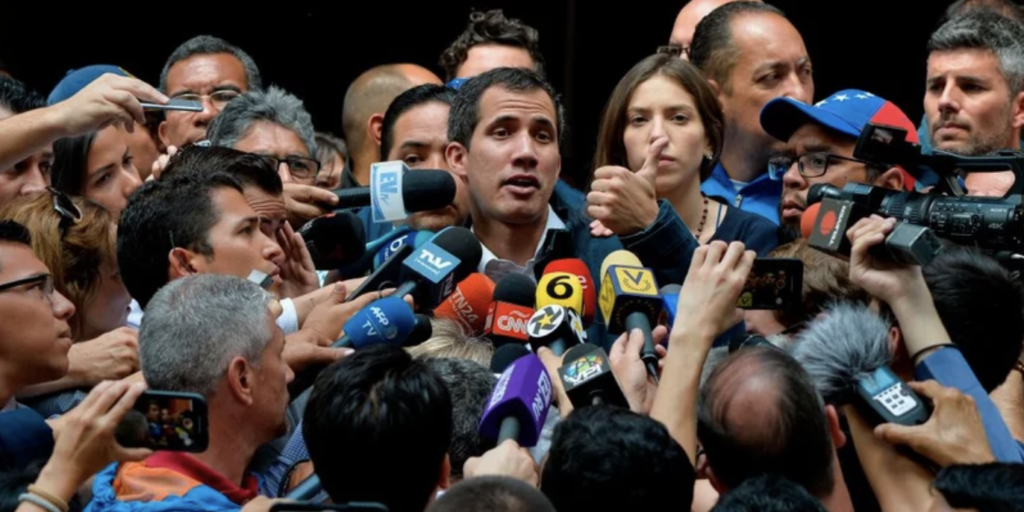 Time's depiction of Juan Guaidó talking to the press. (Luis Robayo/Time)