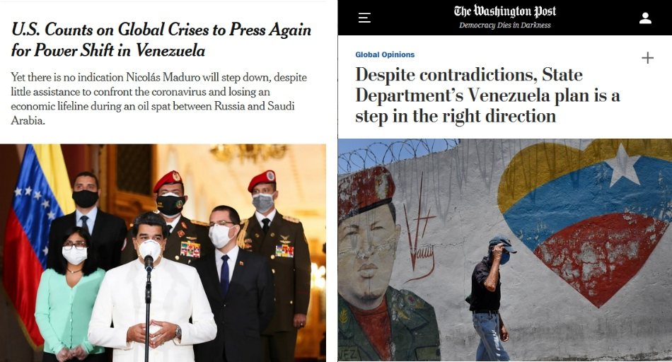 """(Left) The New York Times found Maduro's white suit and being flanked by ministers as """"reminiscent of dictators.""""; (Right) The Washington Post found an unconstitutional plan to remove an elected president on the basis of threats as """"a step in the right direction."""""""