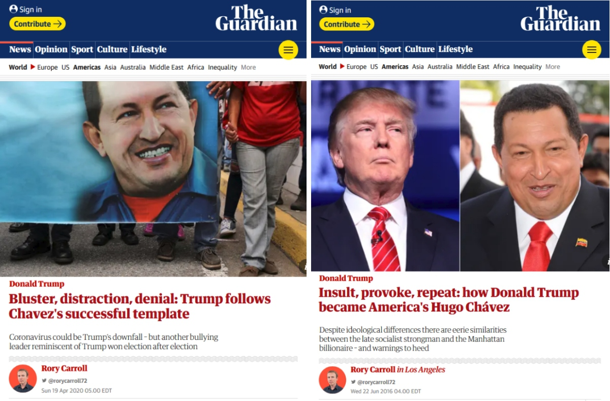 Rory Carroll's most recent Trump-Chávez comparison (left) is very much a remix of his 2016 column along the same lines (right)