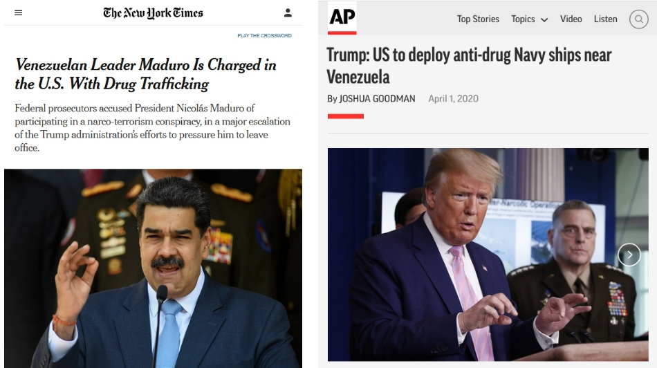 """(Left) The New York Times (and other outlets) accepted the DoJ's """"narco-terrorism"""" charges at face value; (Right) An AP headline endorsed Trump's dubious justification for an aggressive military move."""