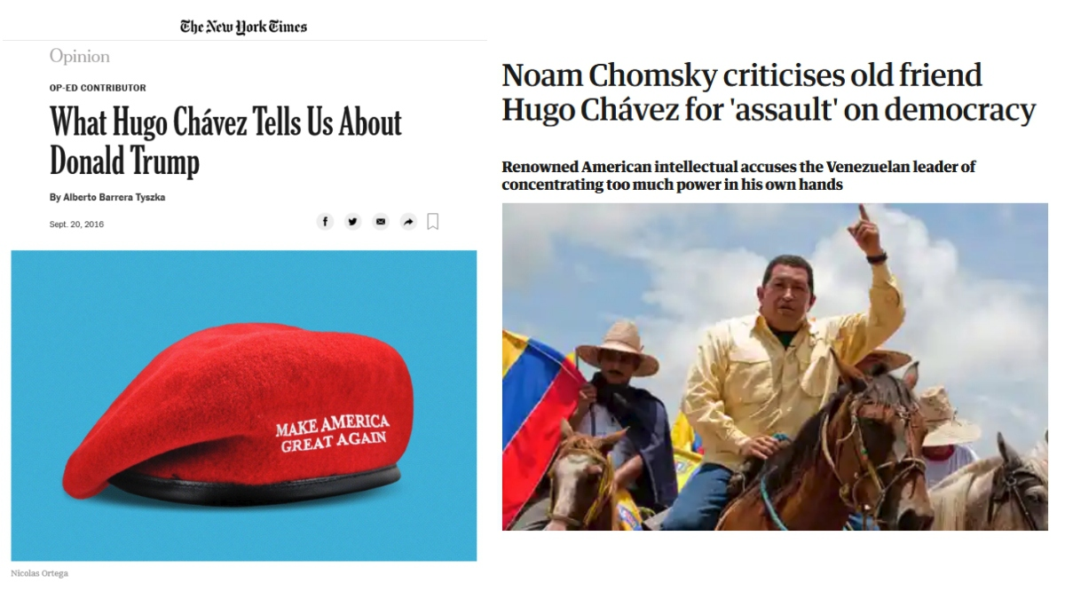 "Left: New York Times' iteration of the fallacious Trump-Chávez equation; Right: Noam Chomsky called this write-up of an interview Rory Carroll (Observer, 7/3/11) conducted with him ""quite deceptive."""