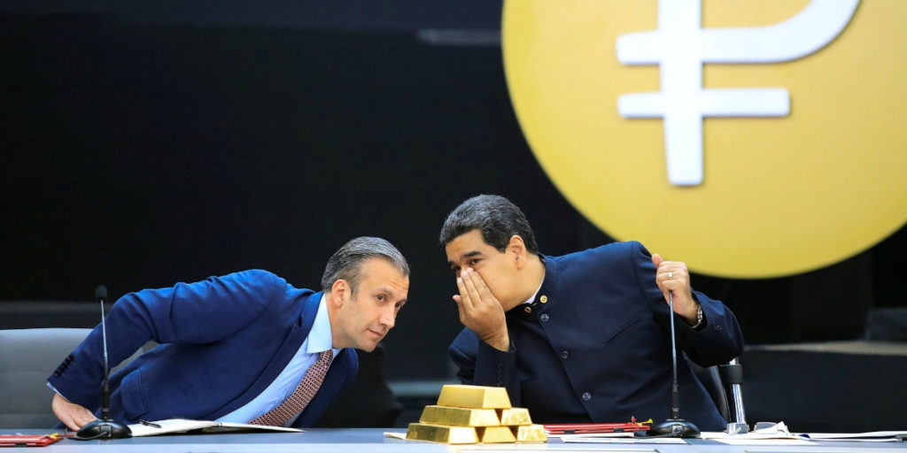 New York Times depiction (5/2/19) of Tareck El Aissami and Nicolás Maduro at an economic conference. What are they whispering about? Drugs or terrorism, no doubt. (photo: Marco Bello/Reuters)