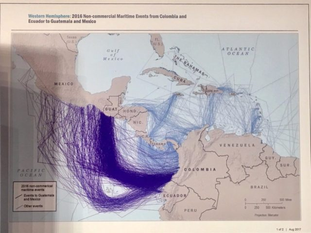 A map produced by the US Southern Command shows the main drug-smuggling routes in Latin America connecting Colombia and Ecuador with Guatemala and Mexico (Business Insider, 9/14/17).