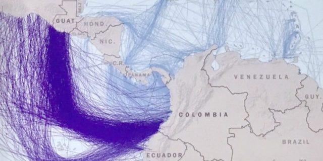 A map produced by the US Southern Command shows that most drug routes enter the US via the Pacific and then Central America. (Business Insider)