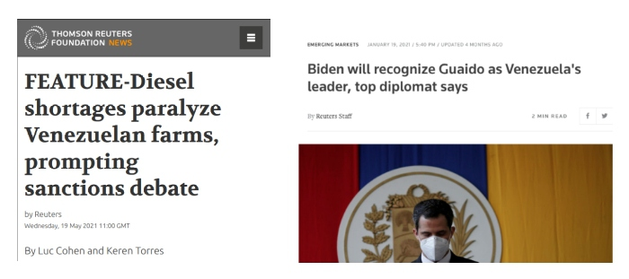 """Left: Reuters makes up a sanctions """"debate"""" to justify US sanctions; Right: Despite widespread calls, the Biden administration is sticking to Trump's policy when it comes to Venezuela."""