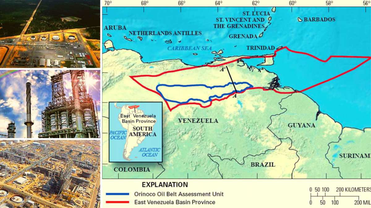Left: Three images of the Orinoco Oil Belt (PDVSA) / Right: Orinoco Oil Belt map, blue section (Wikipedia)