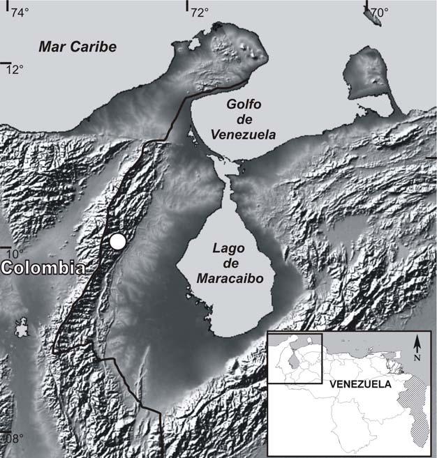Sierra de Perijá National Park in the white circle. (Researchgate)
